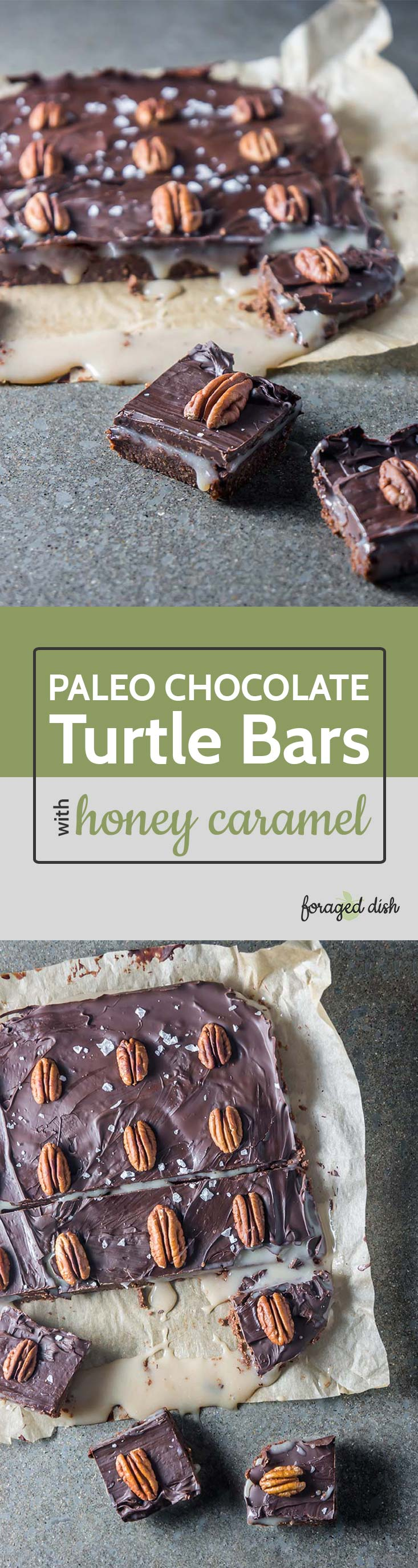 Paleo Chocolate Turtle Bars with Honey Caramel