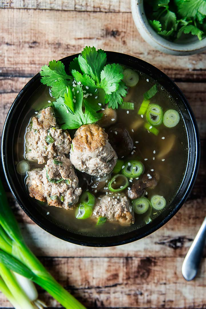 Gingered Chicken Meatballs Soup