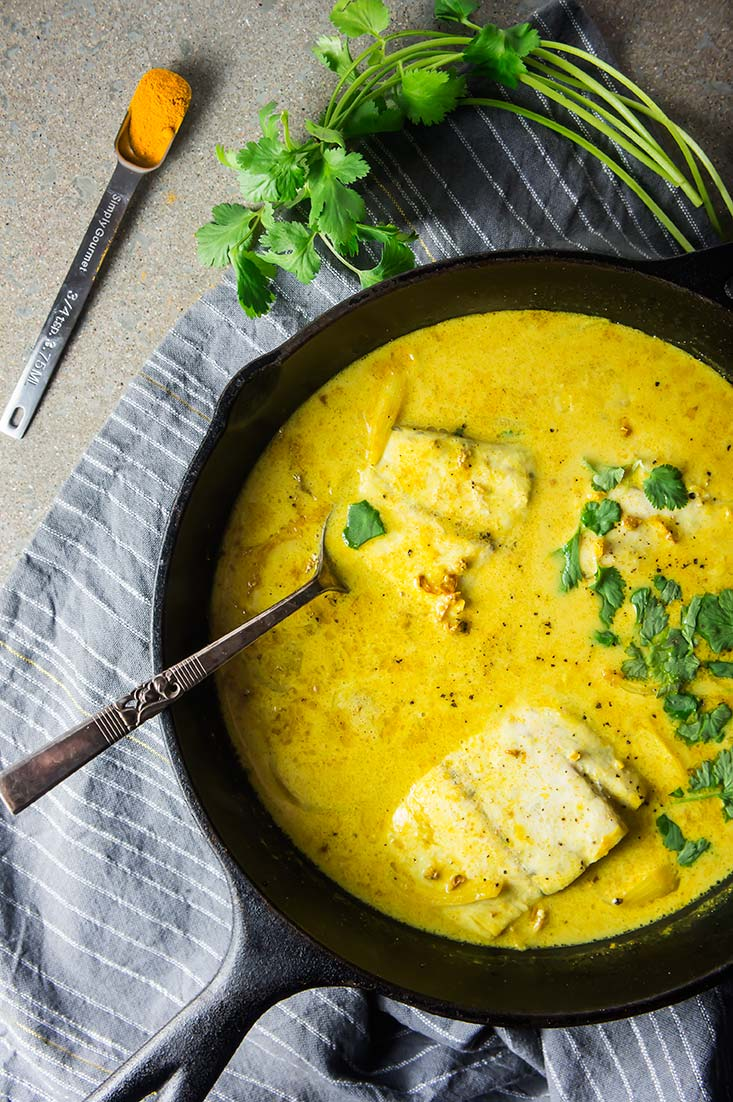 Braised Barramundi in Turmeric & Coconut Sauce