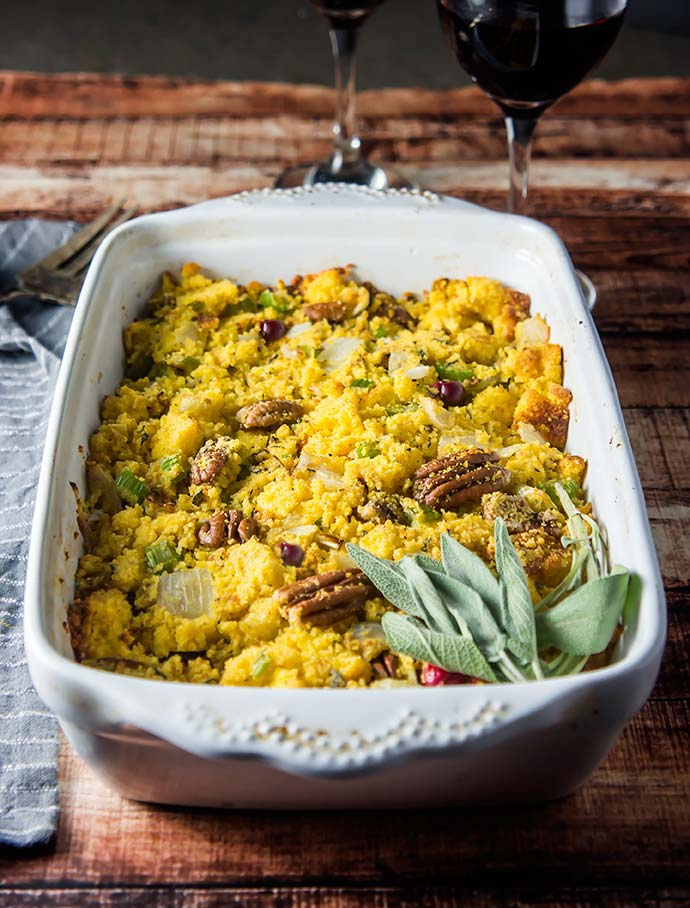 Gluten-Free Cornbread Stuffing with Fresh Cranberries and Pecans