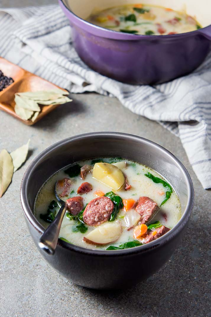 Homestyle Sausage, Potato & Spinach Soup