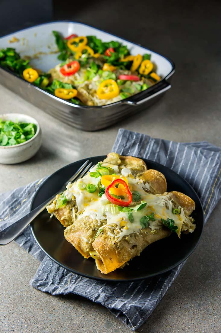Green Chicken & Veggie Enchiladas