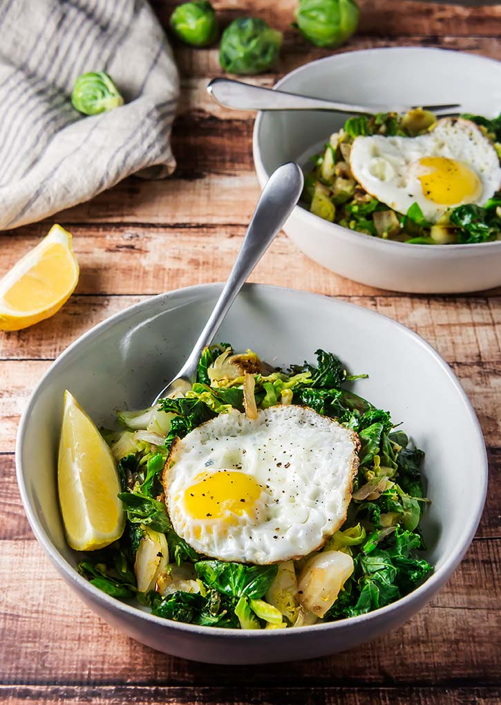 Lemon & Garlic Brussels Sprout Breakfast Bowl