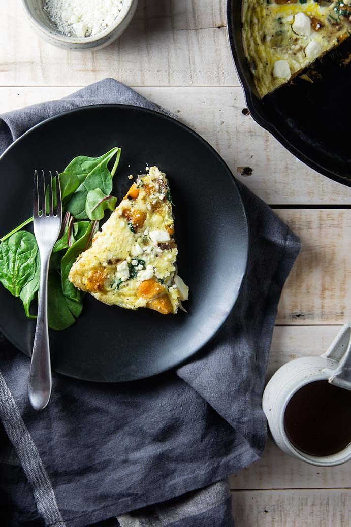 Butternut Squash, Power Greens & Red Onion Frittata