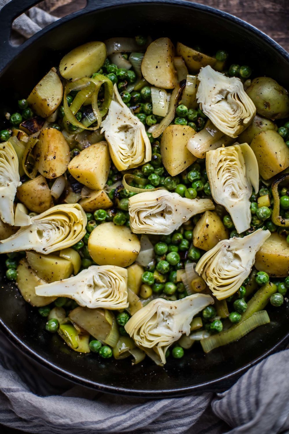 Spring Sauté with New Potatoes, Peas, Leeks & Artichokes