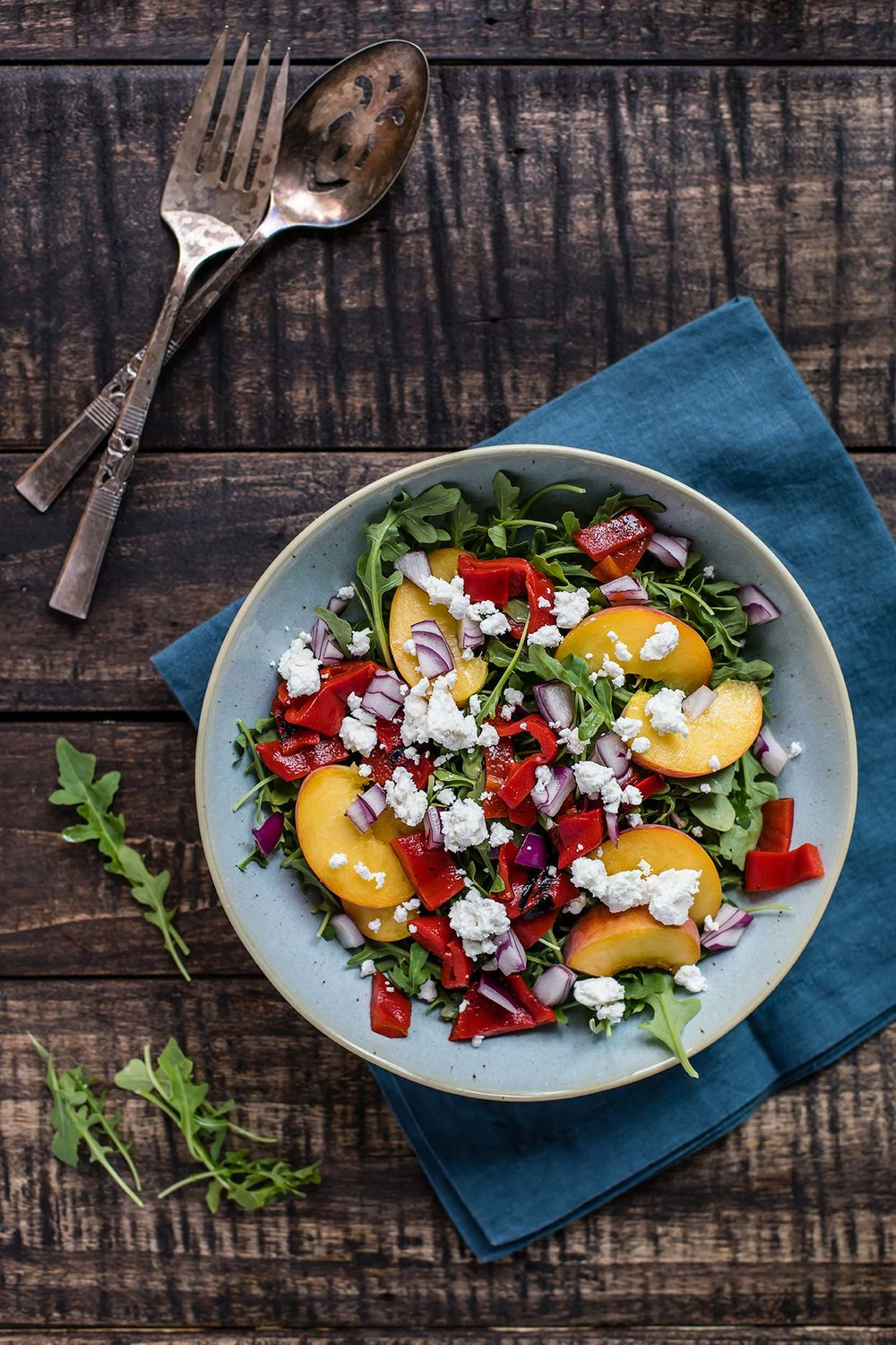 Arugula, Peach, Piquillo Pepper Salad