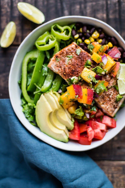 Salmon Taco Salad with Peach Salsa