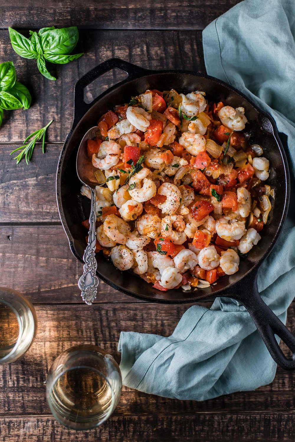 Garlic + Herb Shrimp with Vine Ripe Tomatoes