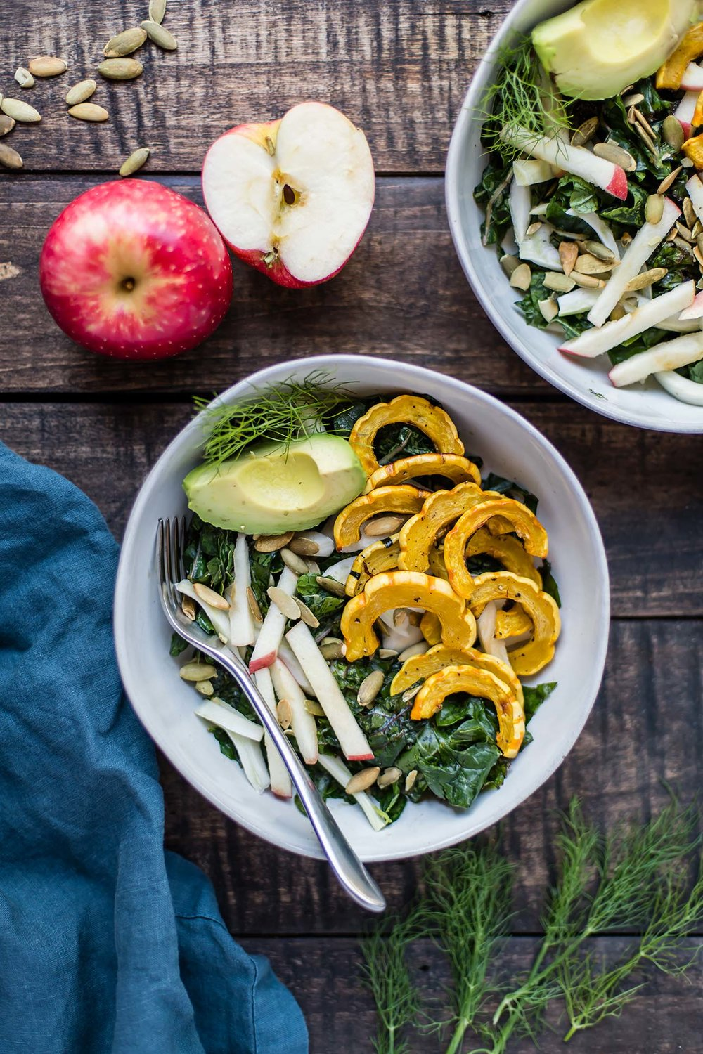 Winter Salad with Kale, Squash, Apples & Fennel