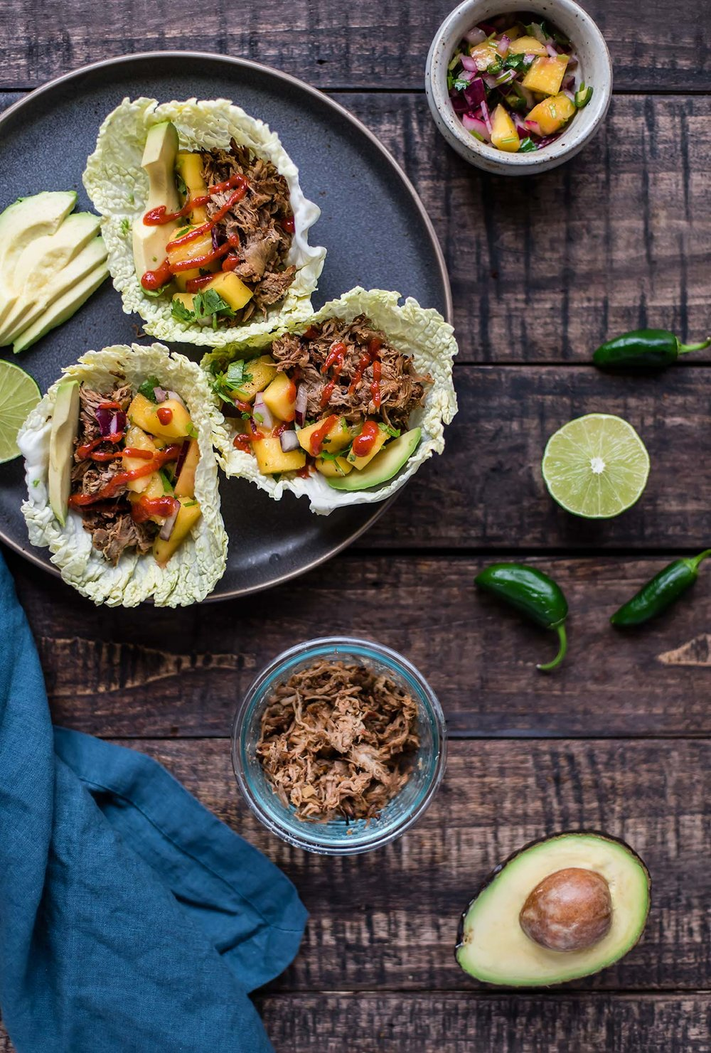 Slow Cooker Korean Pork Cabbage Cups