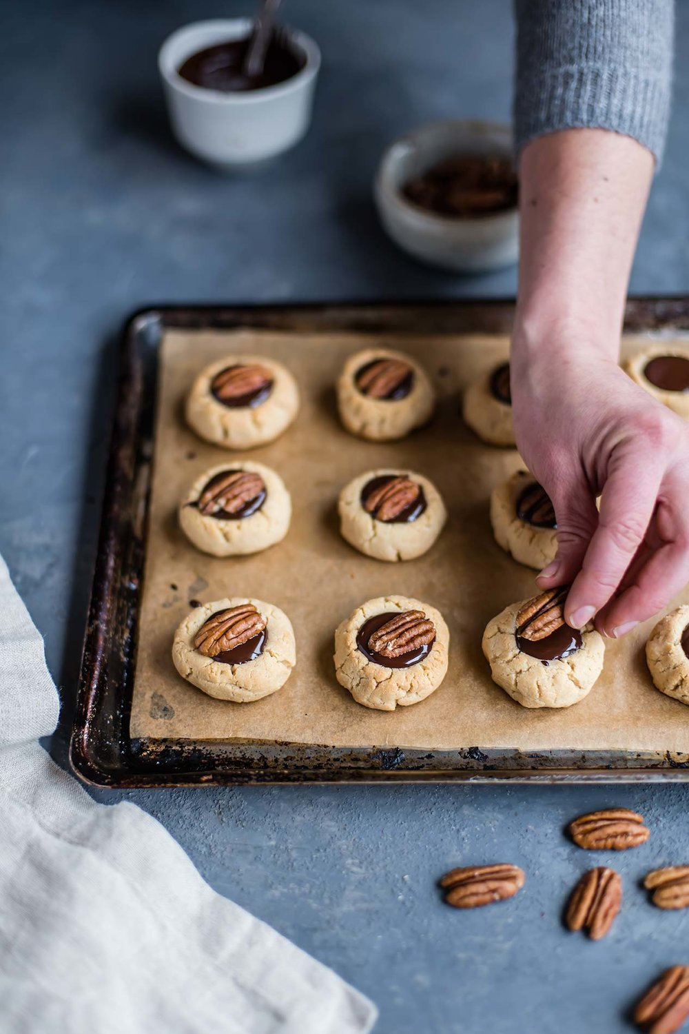 Gluten-Free Chocolate Pecan Thumbprint Cookies