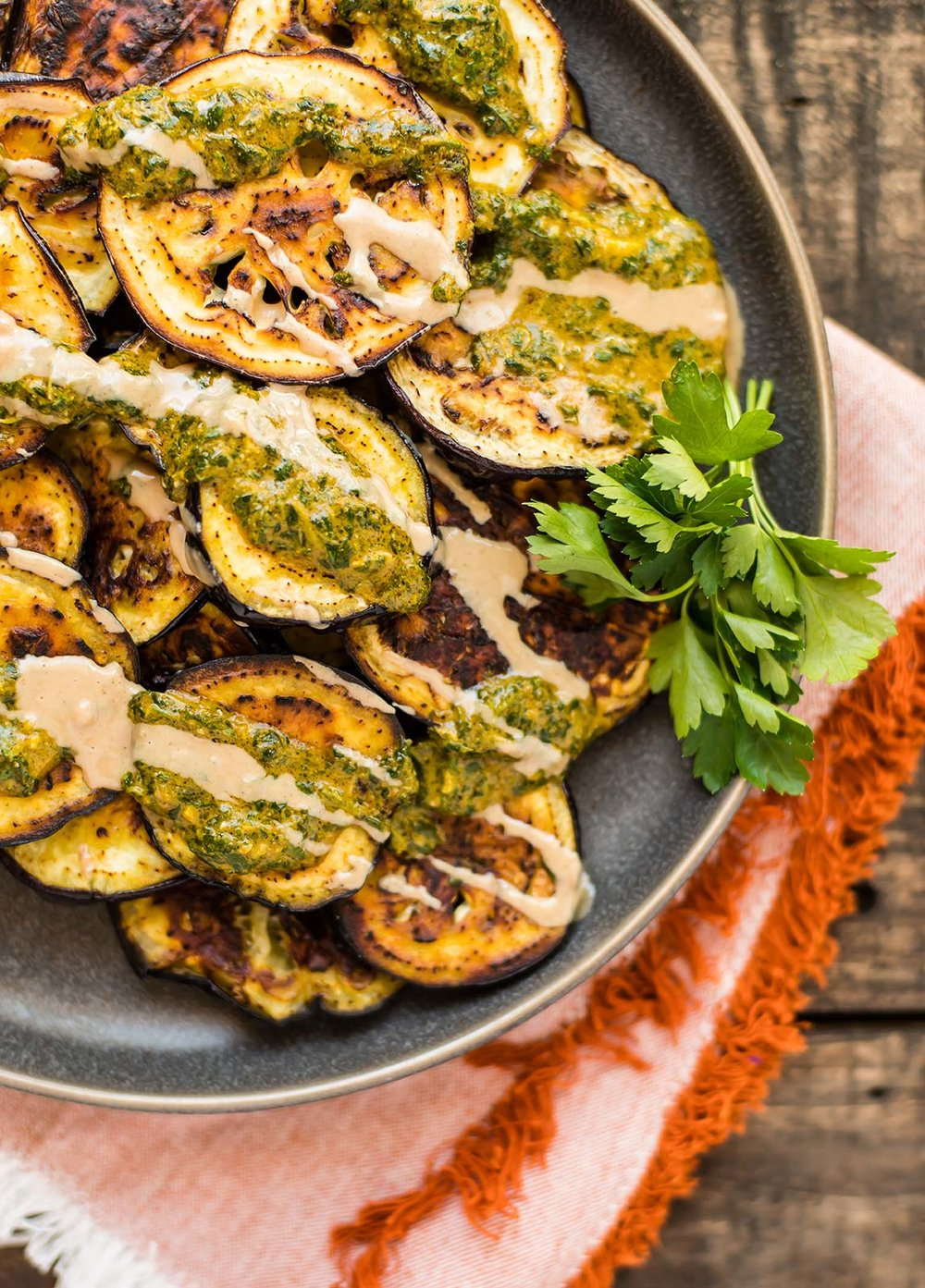 Roasted Eggplant with Charmoula Sauce