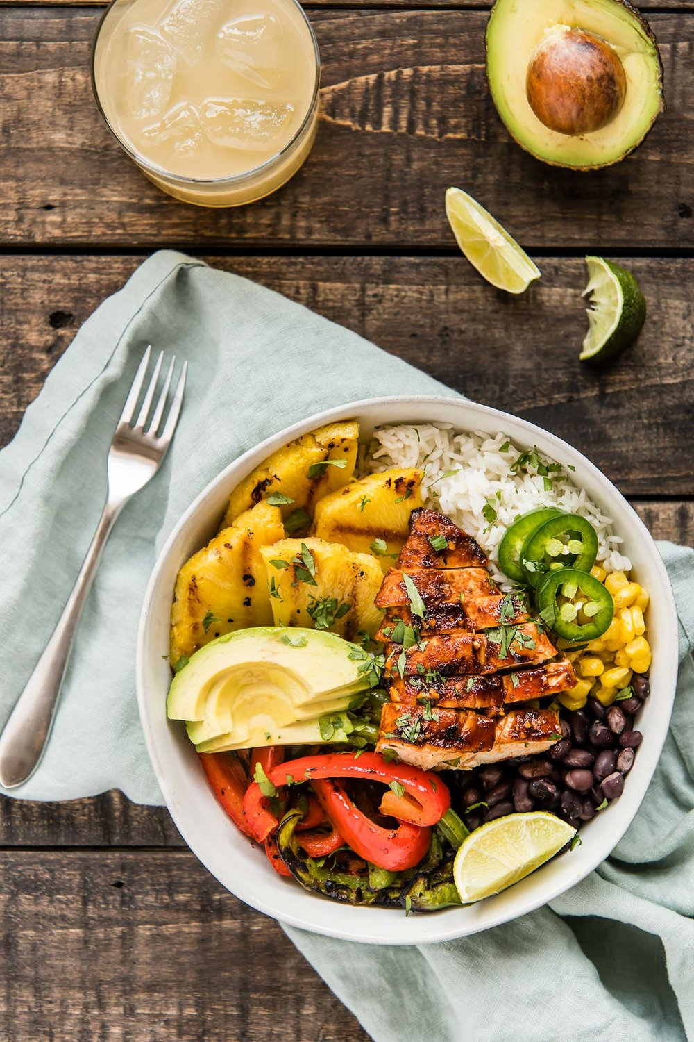 Pineapple Chipotle Chicken Fajita Bowls