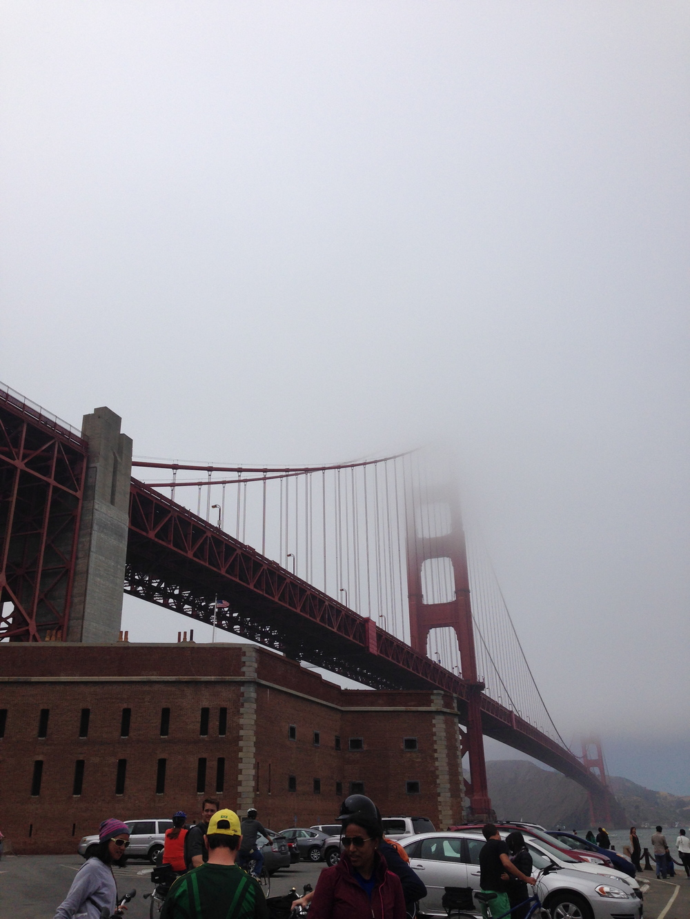 It was so foggy out we couldn't even see the top of the bridge