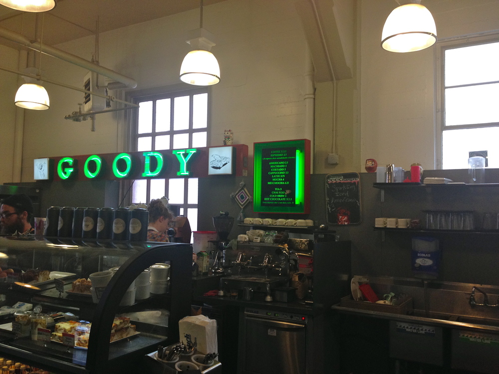 The Goody Cafe! An absolute must try hidden in the back of the farmer's market. They're open 9:30am - 5:00pm every single day, my boyfriend's hot chocolate was absolutely fabulous and my latte was even better! This is connected to a book store, and the vibe is total hipster SF. Just walking in here made me immediately happy, I couldn't stop smiling in here.