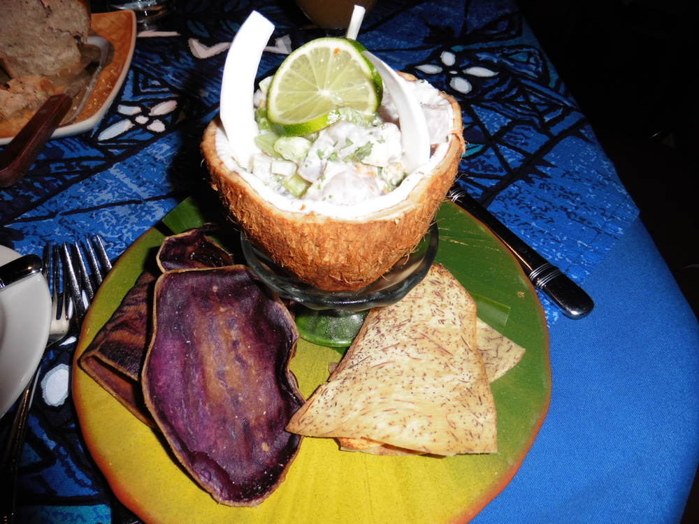 This is  the best  thing I have literally eaten. Sweet potato chips and ceviche in a half-coconut shell with lime juice, cilantro, fresh coconut chunks,jalapenos and coconut milk. It is making my mouth water just looking at this picture.