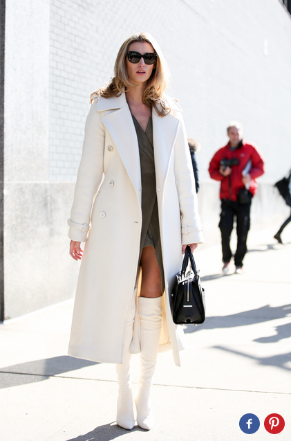 Refinery29   I am obsessed with winter white, and this gal is slaying it.