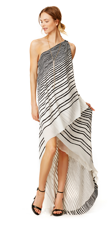 Halston Heritage Draped Stripe Maxi , $100 Rental