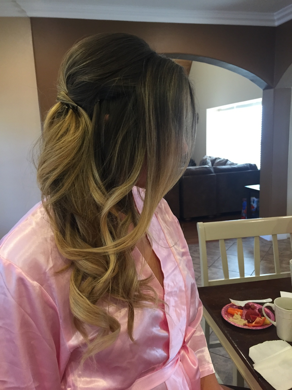 My bridesmaid hair. This is the first time I wore extensions!