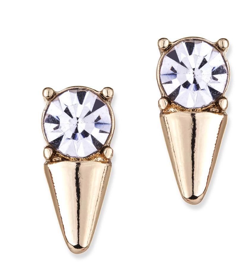 Slate Crystal Spike Earrings, $19