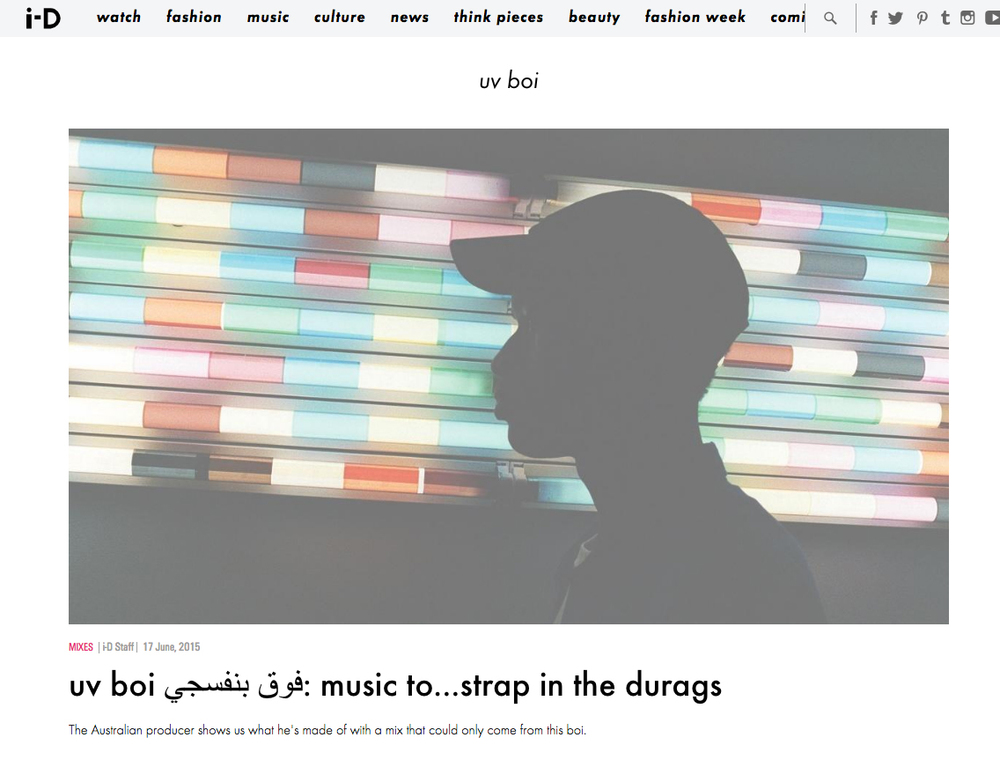UV BOI STRAPPED IN THE DURAGS MIX - ID MAGAZINE
