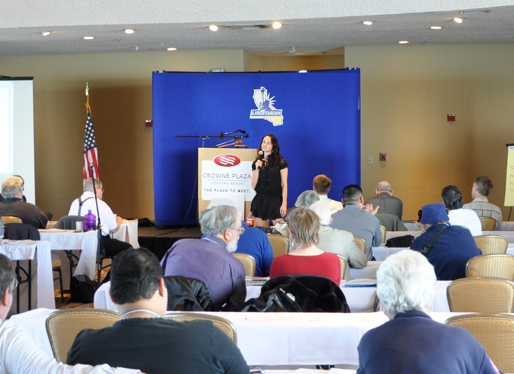 The Freedom Friend's Michelle Liberman speaking on women's lifestyles and liberty   at the California Libertarian State Convention.