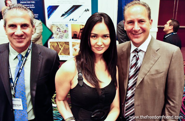 The Freedom Friend's Michelle Liberman,  Peter Schiff,  and Andrew Schiff. Peter is CEO and chief global strategist of Euro Pacific Capital. Andrew is the Public Relations director.