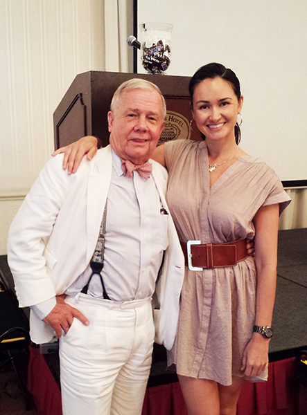 Jim Rogers and The Freedom Friend's Michelle Liberman at breakfast for Freedom Fest 2014 Asia