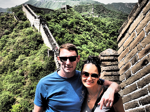 In 3 years we traveled to 15 countries. I saw solid proof that my studies on Austrian economics, free markets, and governments not only made sense but were very true in these countries we visited. Here we are at the Great Wall of China.