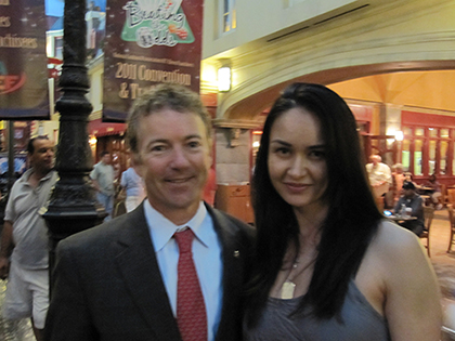 "The Freedom Friend, Michelle Liberman, and Senator Rand Paul. ""Finally! A politician who stands up for the Constitution - the law of the land which was written to limit the government's power, not expand it.  So that We the People can truly have the FREEDOM to life, liberty, and the pursuit of happiness."""