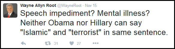 Even author and 2008 Vice presidential candidate, Wayne Root, noticed this and remarked about it in one of his Tweets after the attack on France.