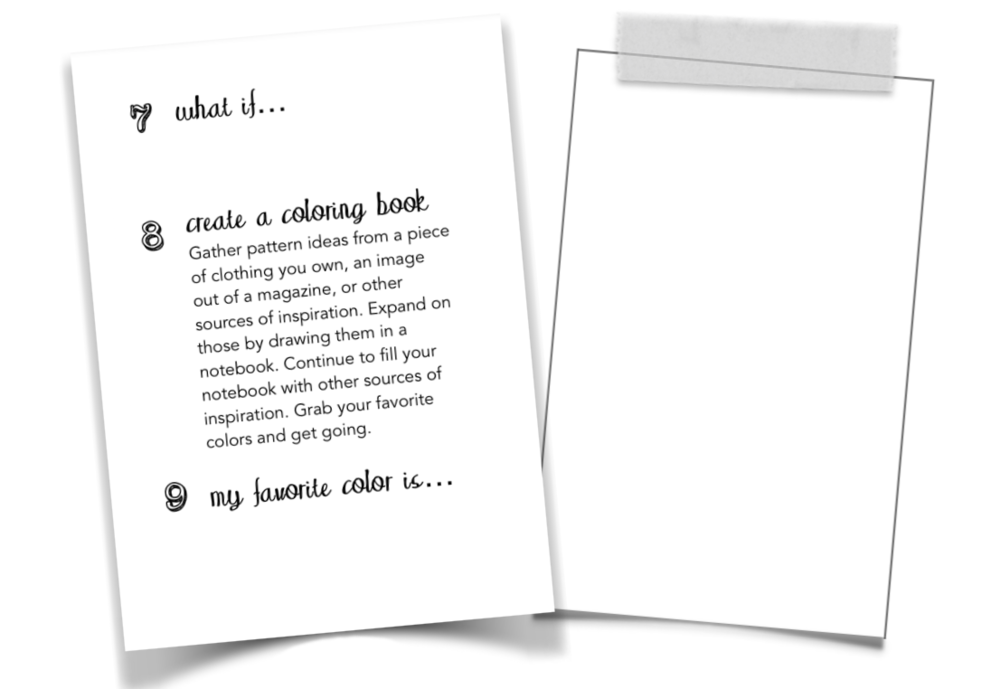 sample page: tips & tasks on left, space to create on right