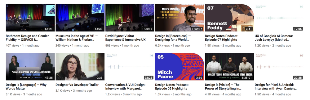 Design Notes' irregular thumbnails on the  Google Design  channel