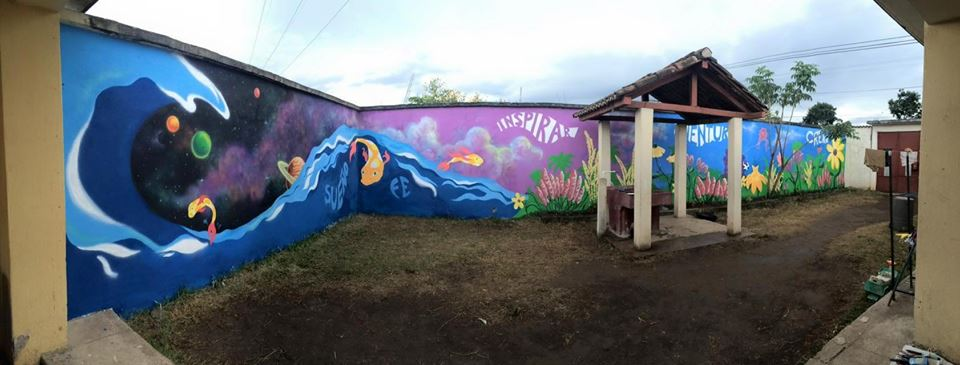 60 foot mural at a rescue center for children and mothers - DONE IN THREE DAYS! *mind blown*