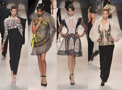 "Notice how the looks in this cohesive collection by  Jean Paul Gaultier all seem to ""belong together"""
