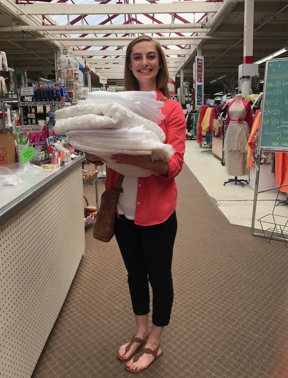 Buying the fabric at   Mill End Store