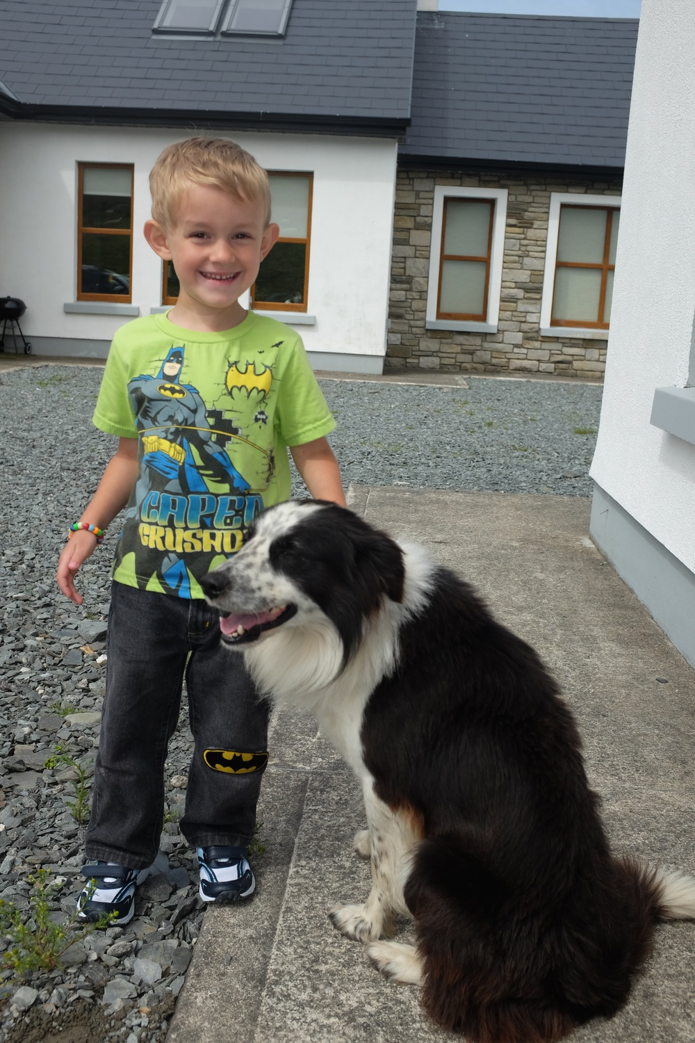 Kian and Sam (the sheep dog)