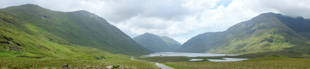 Panorama view on the route to Killary Fjord (Doolough Lake)
