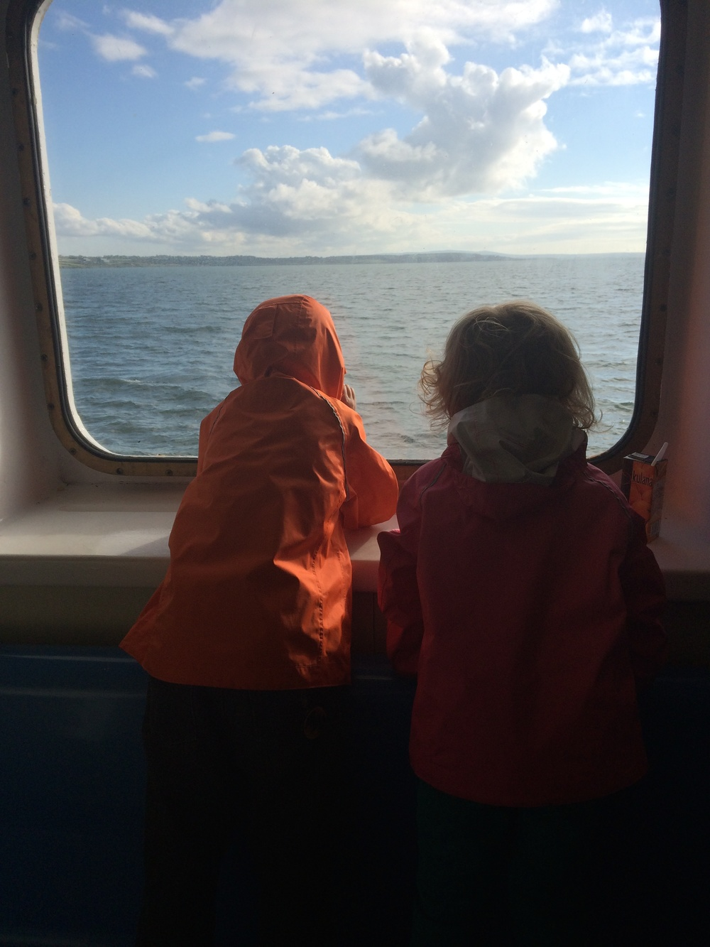 The kids looking at the Shannon River from the ferry