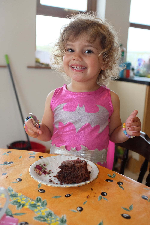 Hannah enjoying her delicious dessert
