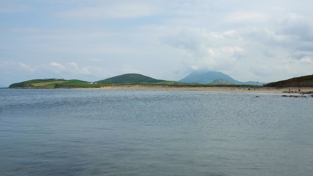 Carrowmore Beach, with a view of Croagh Patrick in the clouds