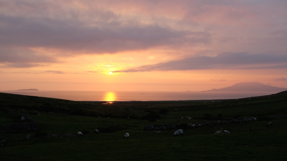Gorgeous sunset over the Atlantic with Clare Island to the right