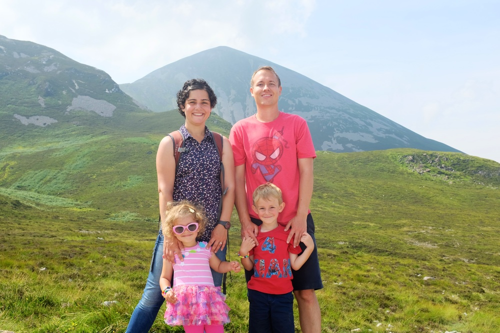 The hikers with Croagh Patrick towering above