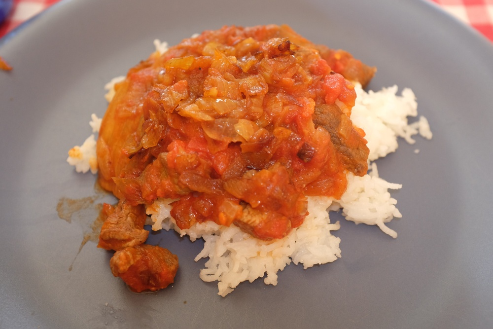 Eggplant stew & white rice