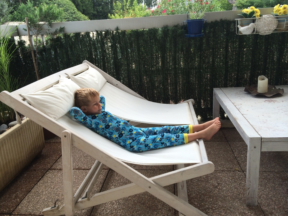 Kian relaxing on the terrace :)