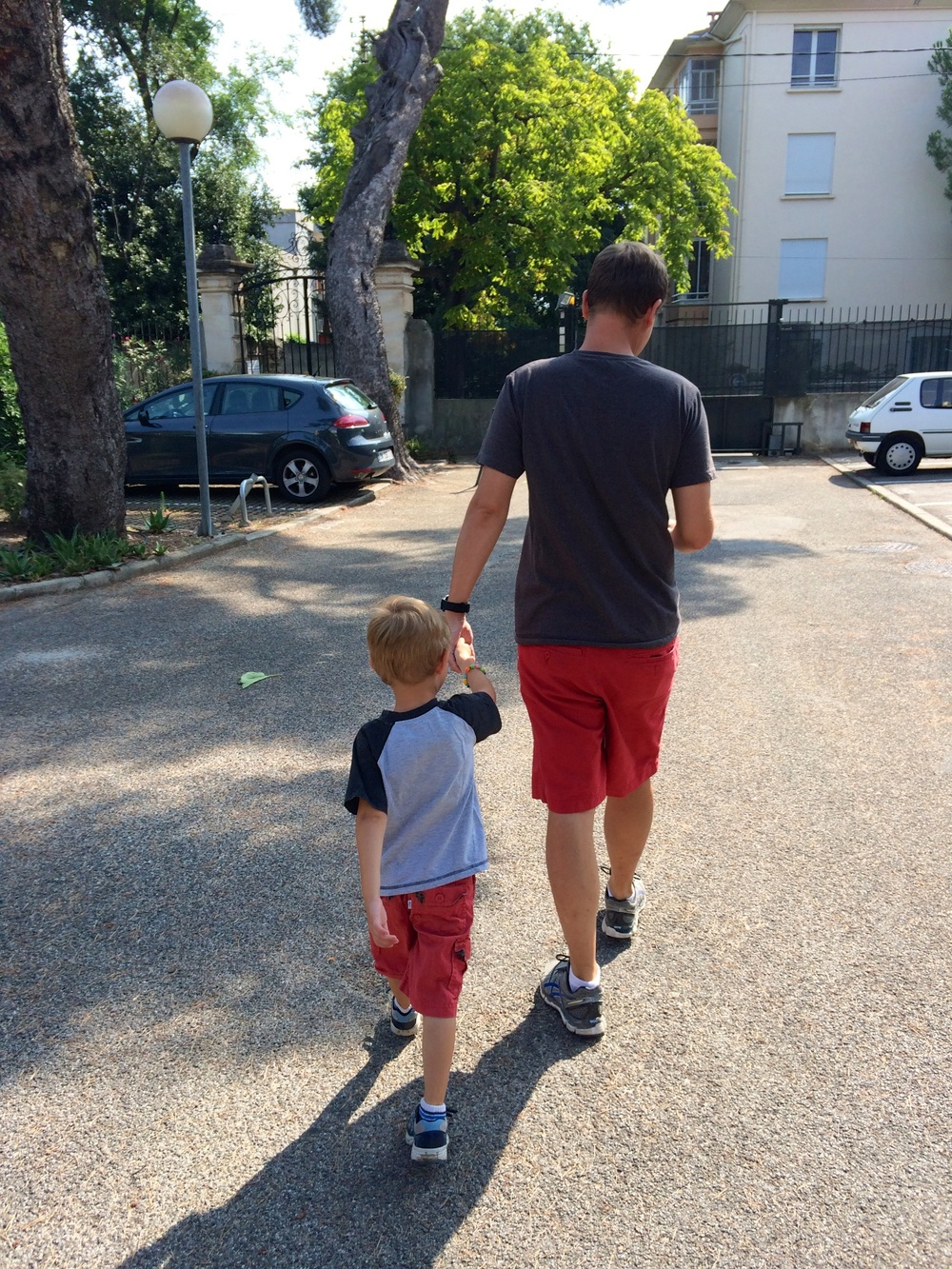The boys in 'almost' matching outfits :) on the way to their haircut appointment