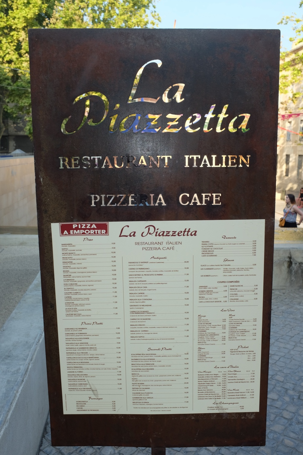 The Menu for La Piazzetta