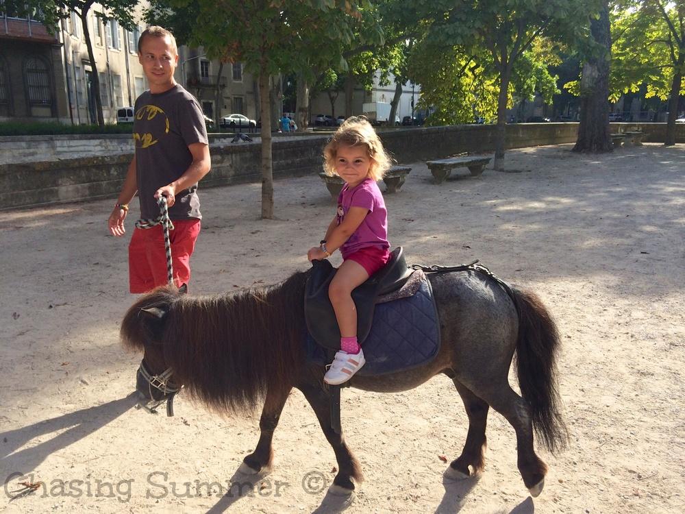 Hannah on her tiny pony