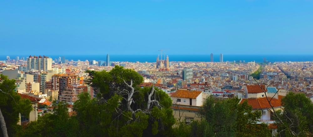 Panoramic view of Barcelona's rooftops with Sagrada Familia rising above.