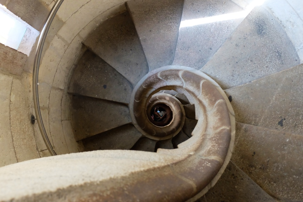 The spiral staircase which brings visitors down from the towers.